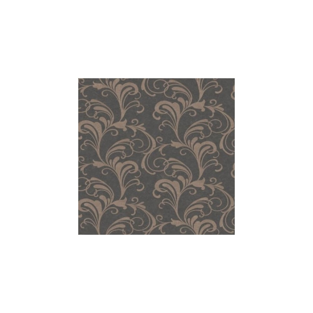 rasch valentina charcoal and gold glitter scroll wallpaper 301861
