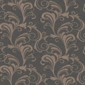 Valentina Charcoal And Gold Glitter Scroll Wallpaper 301861