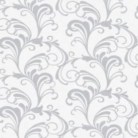 Valentina White And Grey Glitter Scroll Wallpaper 301823