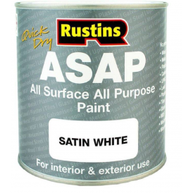 Rustins 1L Asap Satin White Quick Dry All Purpose & Surface Paint