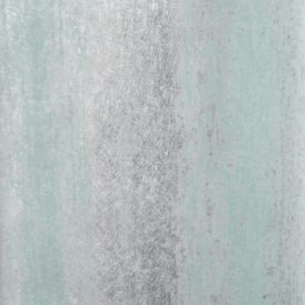 Sienna Stripe Ombre Duck Egg And Silver Metallic Wallpaper 701594