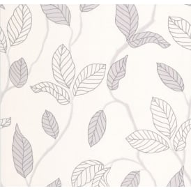 White Cream And Silver Glitter Leaf Floral Wallpaper 18186-50